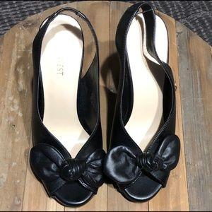 Nine West sling back block bow heels